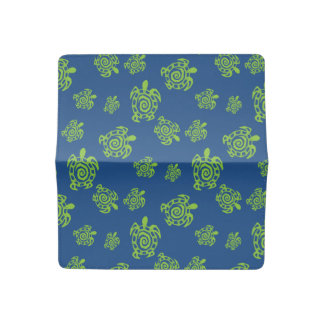 Turtle Green and Blue Graphic Checkbook Cover