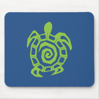 Turtle Green and Blue Graphic Mouse Pad