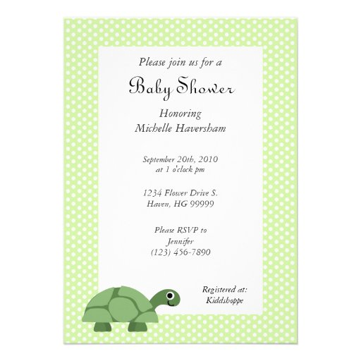 turtle green baby shower invitation zazzle