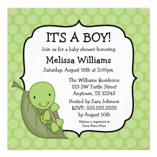 turtle green dots baby shower invitations square invitation card