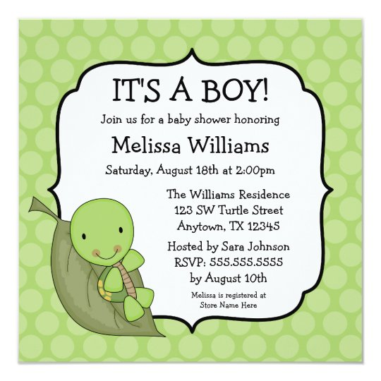 Turtle green dots baby shower invitations zazzle turtle green dots baby shower invitations filmwisefo