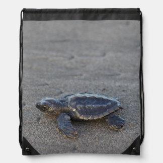 Turtle hatchlings drawstring bag