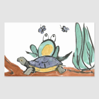 Turtle Helps Frog be Closer to Buzzing Insects Rectangle Stickers