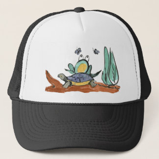 Turtle Helps Frog be Closer to Buzzing Insects Trucker Hat
