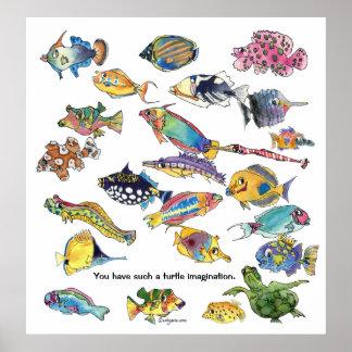 Turtle Imagination Cartoon Fish Art Poster