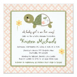 "Turtle in Diaper Baby Shower Invitations For Girls 5.25"" Square Invitation Card"