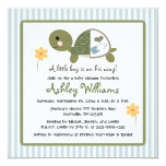 """Turtle in Diapers Baby Shower Invitations Blue 5.25"""" Square Invitation Card"""