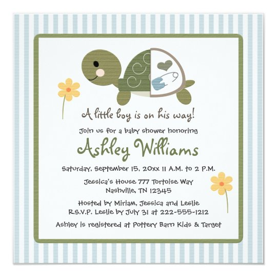 Turtle in Diapers Baby Shower Invitations Blue