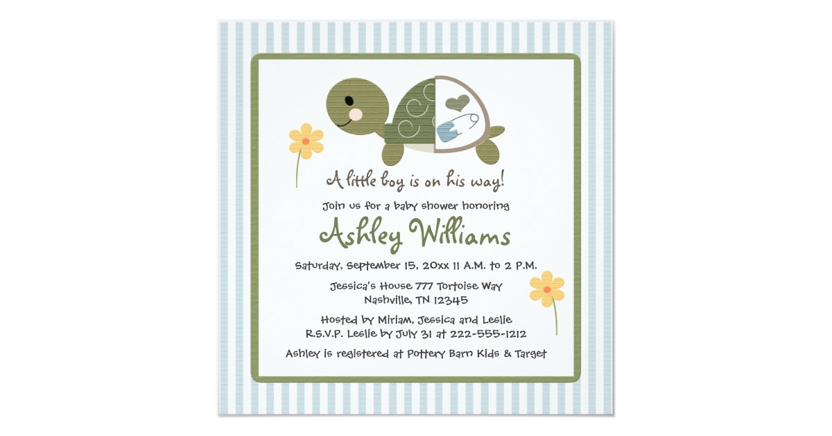 turtle in diapers baby shower invitations blue zazzle