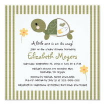 Turtle In Diapers Baby Shower Invitations Green