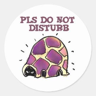 turtle in home do not disturb cartoon classic round sticker
