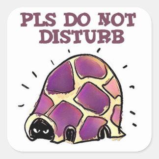 turtle in home pls do not disturb cartoon square sticker