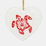 TURTLE IN RED Double-Sided HEART CERAMIC CHRISTMAS ORNAMENT