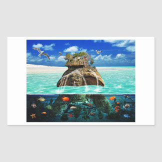 Turtle Island Fantasy Secluded Resort Rectangular Sticker