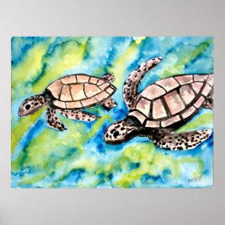 turtle love pair of sea turtles art poster print