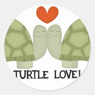 Turtle love round sticker