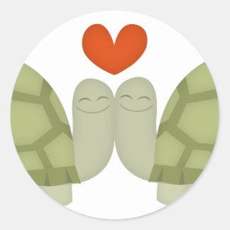 Turtle love round stickers