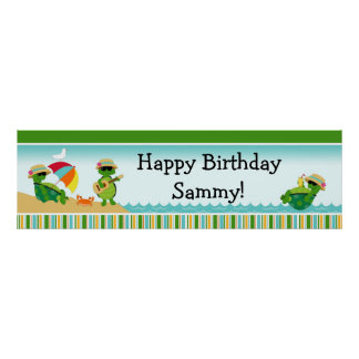 Turtle Luau Birthday Party Banner 40x12 Poster