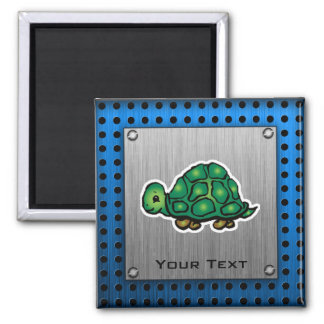Turtle; Metal-look 2 Inch Square Magnet
