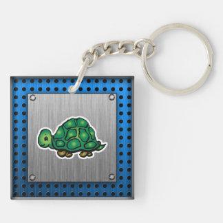 Turtle; Metal-look Keychain