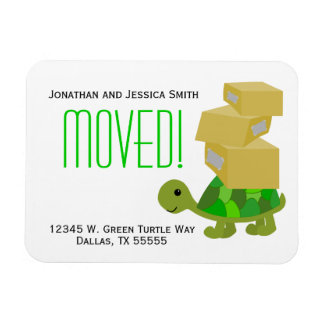 Turtle Moving Boxes New Address Magnet