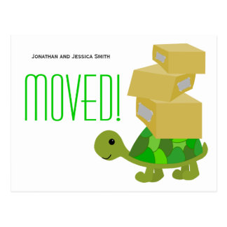Turtle Moving Boxes New Address Postcard