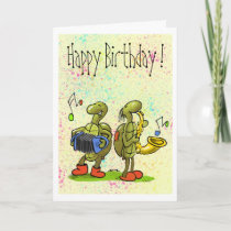 turtle music birthday card