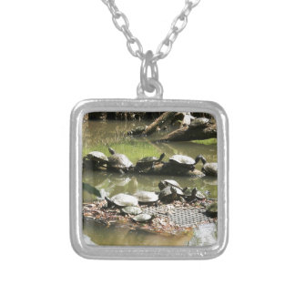 Turtle Network Square Pendant Necklace