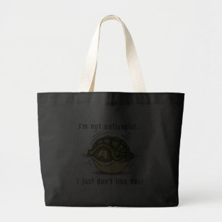turtle not antisocial just dont like you tote bags