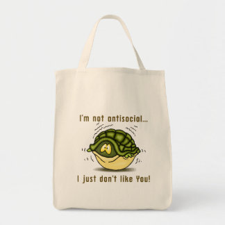 turtle not antisocial just dont like you canvas bags