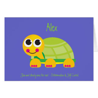 Turtle Notecard with Blue Background Greeting Card