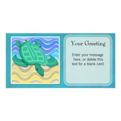 Turtle On Beach Custom Card Photo Card