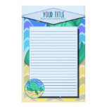 Turtle On Beach Lined Stationery