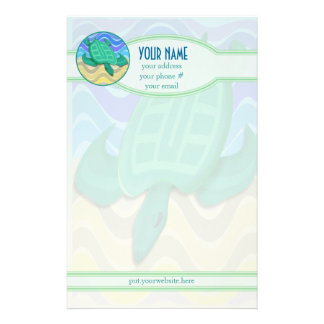 Turtle On Beach Personalized Stationery
