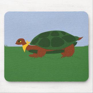 Turtle on Grass Under Blue Sky Cartoon Art Mouse Pad