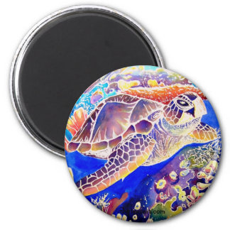 Turtle on Reef 2 Inch Round Magnet