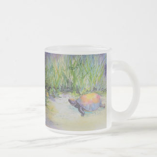 Turtle on the Beach Frosted Glass Coffee Mug