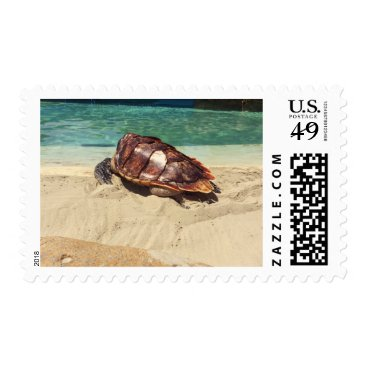 Beach Themed Turtle on the Beach Stamp