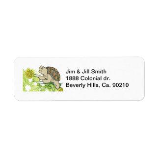 Turtle On Vines Label