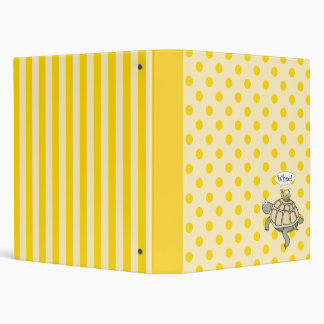 Turtle on yellow polka dots and stripes binder