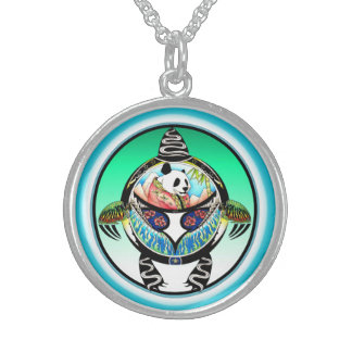 Turtle Panda Sterling Silver Necklace