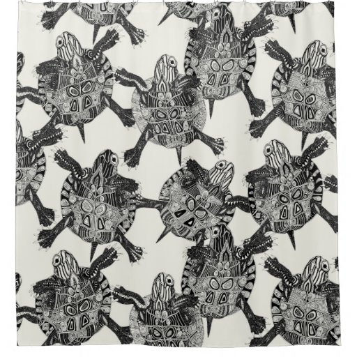 Turtle Party Ivory Black Shower Curtain