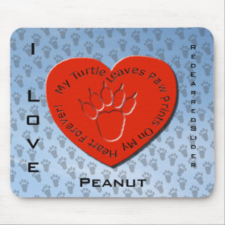 Turtle Paw Prints on my Heart, Personalize Mouse Pad