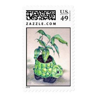 Turtle planter postage stamp