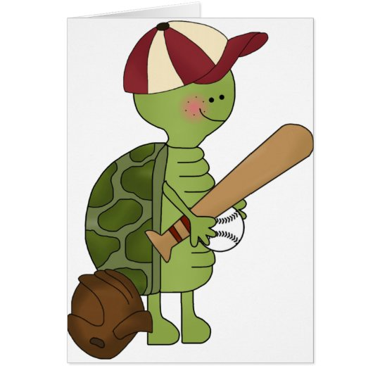 Turtle playing Baseball Card