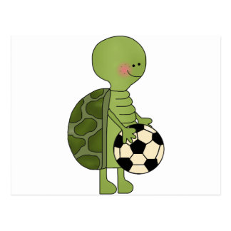 Turtle playing soccer postcard