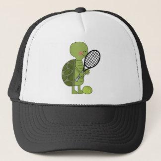 Turtle playing tennis trucker hat