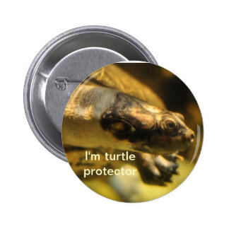 Turtle protector pinback button