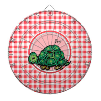 Turtle; Red and White Gingham Dartboards