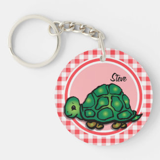 Turtle; Red and White Gingham Acrylic Key Chain
